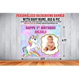 WoW Party Studio Personalized Unicorn Theme Backdrop Banner with Pic
