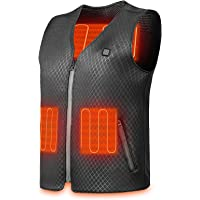 Clheatky Heated Vest, USB Electric Heated Jacket with 4 Heating Zones 3 Temperature, Lightweight Washable Body Warmer…
