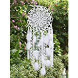 EasyBravo großer Traumfänger im Boho-Stil, mit weißer Feder, Makramee, Wandbehang für Vintage-Hochzeit oder zur Heimdekoration, 30cm Kreis, 80cm lang, Weiß