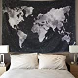 LOMOHOO Tapiz Mapa del Mundo para Pared Decoración Retro Tapiz de Tela de poliéster para Colgar Pared para Sala de Estar habi