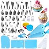 Douilles Pâtisserie, 60 Pièces Acier Inoxydable DIY Kits pour Décoration de Gâteaux Cupcakes, 31 Douilles 12 Poche Pâtisserie