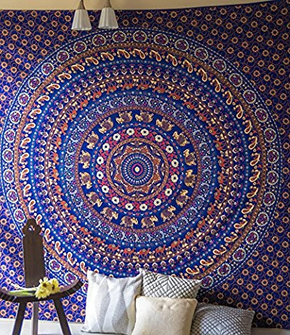 Folkulture Journey Mandala Handmade Indian Elephant Bohemian Tapestry Wall Hanging, Hippie Blue Bedspread for Bedroom, Hippy Bedding or Beach Throw, Queen Size Intricate Psychedelic Cotton Boho Spread