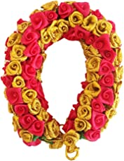 Fashion Shopperrz Artificial Multi coloured Rose Flowers hair Accessories Gajra,gold with Lite Red