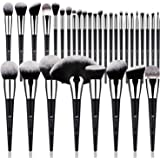 DUcare Brochas de Maquillaje Profesional Negro 32 pcs Maquillaje Profesional Pinceles Premium Synthetic Maquillaje de Ojos, R