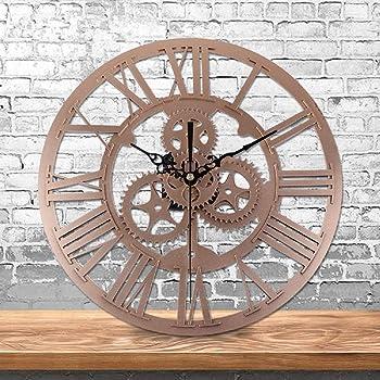Babimax Soledi Horloge Murale européenne Vintage fabriquée à la Main 3D  Roue dentée décorative en Bois da9ecace1abf