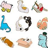 10 Pezzi Set di Spilla di Smalto Cartone Pin Spilla di Smalto Animali Cartone da Zaino Spilla di Gatto Alpaca Corgi per Vesti
