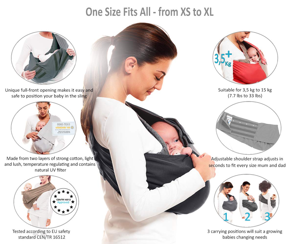 Wallaboo Wrap Sling Carrier Connection, Easy Adjustable, Ergonomic, 3 Carrying Positions, Newborn 8lbs to 33 lbs, Soft Breathable Cotton, 3 Sitting Positions, EU Safety Tested, Color: Taupe / Grey Wallaboo Ergonomically correct design with three natural positions: sleep, sit and active- one size fits all Can be used from premature baby through to 33lbs - with easy-to-use features like a full-front opening and an adjustable back Single piece of fabric, no straps, belts or buckles - Partly padded to give extra comfort- No wrapping, no hardware. Ready to wear 3