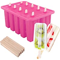 Nuovoware Ice Pop Molds   Cavity of 10  Food Grade Silicone Frozen Ice Popsicle Makers with 100 Sticks  Large Capacity 8 26   5 5   3 9 Inch  BPA Free  Kitchen Tools  Pink