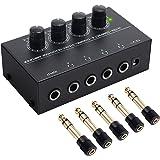 Neoteck HA400 Ampli Casque 4 canaux Ampli Casque stéréo Ultra Compact avec Adaptateur 5pcs 6.3mm (1/4 Pouce) à 3.5mm (1/8 Pou