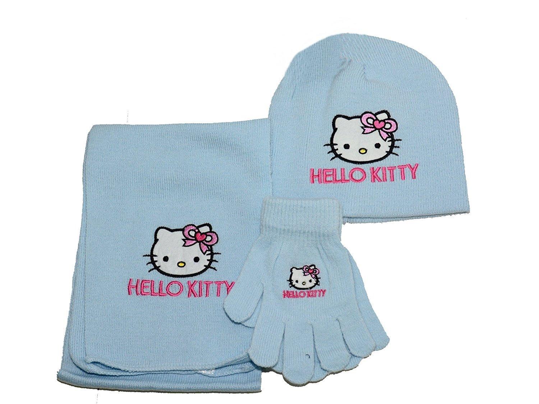 Set invernale Hello Kitty Sciarpa Guanti Cappello azzurro *06813