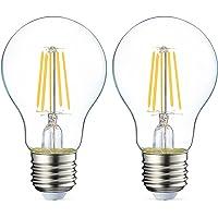 Amazon Basics LED E27 Edison Screw Bulb, 4.3W (equivalent to 40W), Clear Filament - Pack of 2