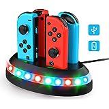 QcoQce Stazionamento di Ricarica per Nintendo Switch Joy-Con,Dock di Ricarica con Indicazione LED,Caricabatterie…