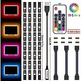 Kit de Ruban LED 2M, Jirvyuk Bande LED TV, Bande Led USB 5050 Etanche Flexible Lumineux avec une télécommande, Ruban à LED RGB Pour HDTV