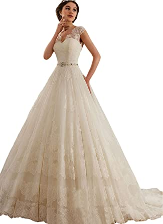 010065da446b5 Engerla Women's 2017 V-neck Cap Sleeve Lace Appliques A Line Tulle Lace Up  Wedding Dress: Amazon.co.uk: Clothing