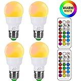 iLC Ampoule Couleur LED E27 Telecommande Blanc Chaud (2700K) Changement de couleur Ampoule 3W - RGB 12 choix de couleur - Edison Screw (Lot de 4)