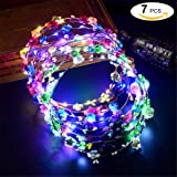 Zoylink Blumenkranz, Blumenkopfschmuck Dekorative Leucht 10 LEDs Kopfschmuck Blumenkrone FüR Nacht Party Dekor