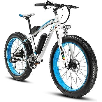 Cyrusher® Extrbici XF660 48V 500 vatios blanco azul Mens bicicleta eléctrica Mountain Bike 7 velocidades bicicletas eléctricas frenos de disco