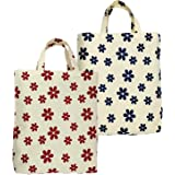 Greencraft Reusable Printed Big Eco Cotton Canvas Shopping Bags for Carry Milk Grocery Fruits Vegetable with Strong Handles (