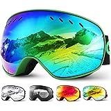 Glymnis Maschera da Sci Occhiali da Sci OTG Super-grandangolo Occhiali da Snowboard e Staccabile Lenti Antiappannamento Antiv