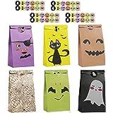 Colmanda Sacchetti di Carta di Halloween, 48 Pezzi Sacchetti di Caramelle con 48 Adesivi di Halloween, Sacchetti di Halloween