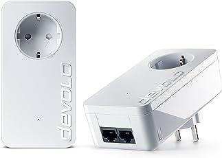 devolo dLAN 550 duo+ Starter Kit Powerline (Internet aus der Steckdose, 2x LAN Ports, 2x Powerlan Adapter, integrierte Steckdose, PLC Netzwerkadapter) weiß