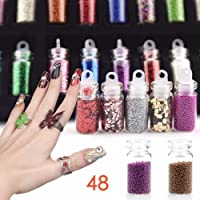 Wenux- Glass Bottles 3D Nail Art Set - Glitter Sequins Rhinestones Beads Assorted (48pcs 1Pack)