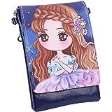 ITODA - Mini cartera de piel sintética para niña, multifunción, bolso de mano, monedero con diseño de princesa, bolso de telé