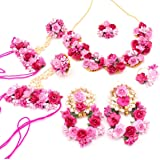 Sai collection Paper Flower Jewellery Set for Women For Women's (Pink)