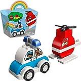 LEGO 10957 Duplo My First L'hélicoptère des Pompiers et la Voiture de Police Jouet pour Bébés, Filles & Garçons de 1 an et De