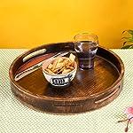 Aakriti Art Creations Handcrafted Mango Wood Madhubani Art - Round Wooden Tray - Brown(12x12x1.7)