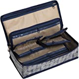 HomeStrap Cotton Multipurpose 8 Pocket Jewellery Storage Bag Pouch/Travel Kit Organizer Navy Blue