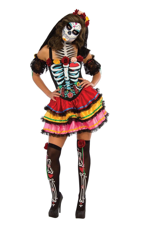 rubieu0027s official ladies day of the dead senorita skeleton halloween adult costume small rubies amazoncouk toys u0026 games