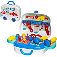 NHR Doctor Set Pretend Play Learning Educational Tool Toy with Portable Medical Clinic Suitcase & Equipments -14 Pcs