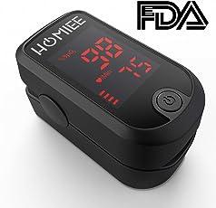 HOMIEE Finger Pulsoximeter Fingeroximeter Digitaler rotierenden LCD Bildschirm Messen Sauerstoffgehalt im Blut SpO2, Finger Herz Sauerstoffsättigung Herzfrequenz Monitor, CE und FDA Zertifizierung.
