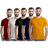 Boodbuck Men's Regular Fit T-Shirt (Pack of 5)