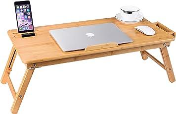 Laptop Tablett Schreibtisch Nnewvante Verstellbare Laptop Schreibtisch Tisch 100% Bambus Faltbares Frühstück Serving Bett Tablett w 'Schublade