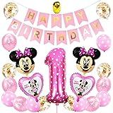 Decorazioni per Feste a Tema Minnie Forniture, Minnie Balloons Palloncino Compleanno Numero 1 Minnie Compleanno Fascia per St