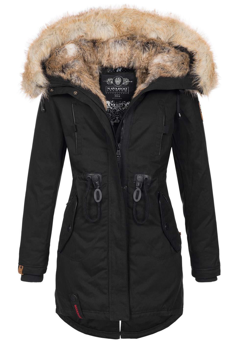 Navahoo warme Damen Winter Jacke lang Kunstfell Winterjacke Parka Mantel B660