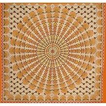 Hashcart India King Size Tapices tradicionales Bloque de madera Colgante de pared impreso, Colcha de