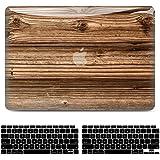 Funda para MacBook Air 13 pulgadas 2020 2019 2018 Release A2337 M1 A2179 A1932, 3D Estuche Rígido de Plástico Madera Lisa + C