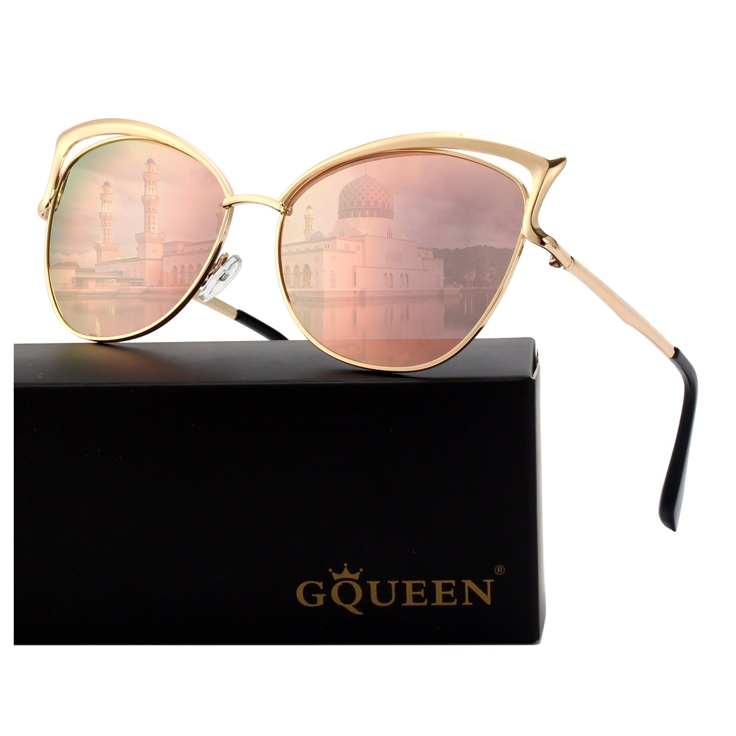 323f1a0229 GQUEEN Women s Oversized Polarized Metal Frame Mirrored Cat Eye Sunglasses  MT3