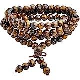 Jovivi Collana o bracciale a più giri con perle naturali di occhio di tigre, 6mm, stile tibetano, buddista, Buddha Mala cine