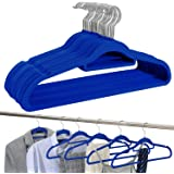 Amazon Brand - Umi Velvet Suit Hangers, Non-Slip, Heavy-Duty and Space-Saving, with Tie Bar, 360° Swivel Hooks, Notched Shoul