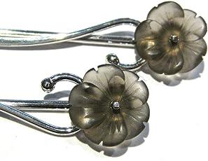Rauchquarz Ohrringe Blume silber 925%