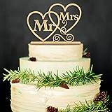 ZesNice Cake Topper Wedding, Mr Mrs Cake Topper Bruidstaart Topper Taart Decoratie (Hout Kleur)