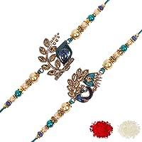 Riddhika Ventures Stylish Blue Peacock Feather and Royal Blue Peacock Kundan Rakhi (Set of 2) with Roli Chawal and…