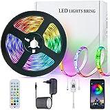 LED Strip Streifen Farbwechsel Lichterkette 5M RGB mit Fernbedienung und Bluetooth Kontroller Sync zur Musik, Anwendung für S
