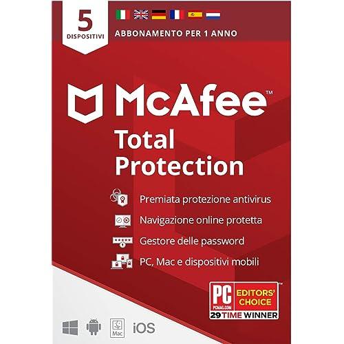 Mcafee Total Protection 2020, 5 Dispositivi, 1 Anno, Software Antivirus, Mobile, Gestore Password, Multi-Dispositivo Compatibile con PC/Mac/Android/iOS, Edizione Europea, Posta