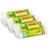 Virosac - Biopratico - Sacchetti per rifiuti biodegradabili 42x45, con maniglie estraibili, 10 pezzi per rotolo, kit da 3 rot