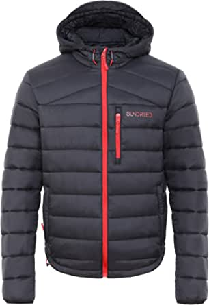 Sundried Men's Quilted Black Warm Winter Coat Hooded Puffer Jacket - Padded Warm, Lightweight Winter Jacket, Water Resistant Rain Coat, Microfibre Filler - Ideal in Cold Weather